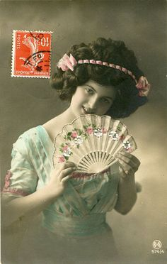 Original French vintage hand tinted real by SistersScrapbooking, $4.75