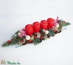Adventi tál piros gyertyákkal (Decoflor) - Meska.hu Advent Candles, Xmas Decorations, Christmas Wreaths, Ornaments, Holiday Decor, Home Decor, Decoration Home, Room Decor, Christmas Decorations