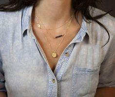Collares collar de oro Hamsa conjunto en capas / por LayeredAndLong