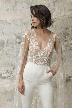 Wedding Jumpsuit, Lace Jumpsuit, Civil Wedding Dresses, Dream Wedding Dresses, Minimalist Wedding Dresses, Mermaid Dresses, Lace Weddings, Lace Bodice, White Long Sleeve
