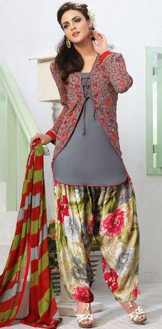 USD 44.92 Gray Georgette Designer Patiala Salwar Kameez 43401