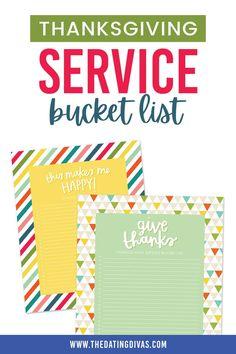 Thanksgiving Service Ideas- a service bucket list for families Thanksgiving Service, Free Printables, Activities, Fun, Crafts, Manualidades, Free Printable, Handmade Crafts, Craft