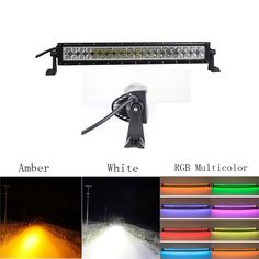 """156.00$  Buy now - http://alit88.worldwells.pw/go.php?t=32728314633 - """"Nicoko Curved 22""""""""120w Amber White Led Work Light Bar with RGB halo ring Driving Fog Lamp Offroad Suv Ute Atv Truck 4x4 Boat 12v"""""""