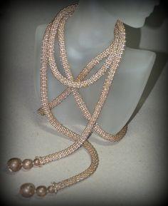 Old Gold ... Lariat . Necklace . Bead Crochet Rope . Metallic Beads . Versatile . Long . Fashion Accessory . Stylish