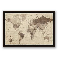 Charlton Home 'Distressed World Map' Rectangle Graphic Art Print on Canvas Size: H x W, Format: Framed Canvas Frame, Canvas Wall Art, Canvas Prints, Art Prints, Canvas Size, Old World Maps, Vintage World Maps, World Map Design, Elephant Canvas