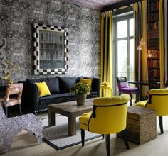 Number Sixteen hotel - the Library is cleverly designed to be very modern whilst successfully enhancing the classical proportions of the room. The citrus yellow and purples, greys and blacks all make their own statement yet live in harmony. An ambience of contemporary luxury and fantastic style.
