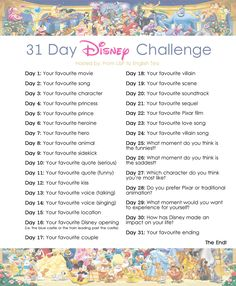 From L&P to English Tea: 31 Day Disney Challenge Announcement...
