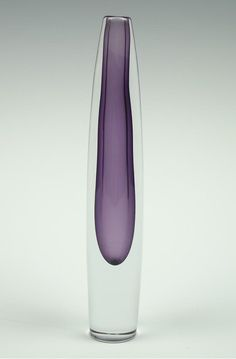 Strombergshyttan purple cased single stem glass vase. Designed by Gunnar Nyland