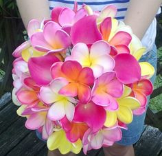 Plumeria Bouquet 7 piece Set, Frangipani Bouquet, Tropical Bouquet, Pink Fushia Bouquet, Real Touch Calla Bouquet, Plumeria Bridal Bouquet on Etsy, $365.00. BEAUTIFUL! CUSTOM COLORS ON REQUEST. FOR 7 BOUQUETS.