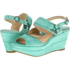 $136.80 Frye Carlie Sling (Mint Sunwash Nubuck) Women's Wedge Shoes
