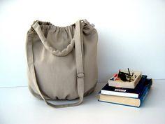Canvas Bags – NEW Nagy in khaki extra large hobo bag, gymbag, handmade – a unique product by bayanhippo via en.dawanda.com