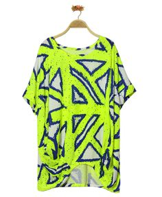 Neon Print T-shirt with Batwing Sleeves from Chicnova