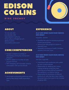 Modern Colorful Blue Zigzag Border Resume  Resume