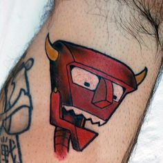 Robot Devil Mens Small Simple Futurama Tattoo On Arm