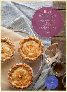 "Inspired by Mr Ron Weasley: Everything but the Kitchen Sink Pies. Why a meat pie? Because to me: savory pies > sweet pies. Ron Weasley's ""Eveything But The Kitchen Sink"" Pie Recipe Ron Weasley, Quiches, Strudel, Empanadas, Spoon Fork Bacon, Harry Potter Food, Sweet Italian Sausage, Sweet Pie, Pie Recipes"