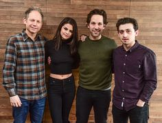 "Selena Gomez, Paul Rudd, Craig Roberts and Rob Burnett posing for portraits for ""The Fundamentals Of Caring"" during the 2016 Sundance Film Festival."