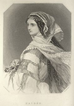 Maidee, from The gallery of Byron beauties (portraits of the principal female characters in Lord Byron's poems), London, not dated.  Via archive.org