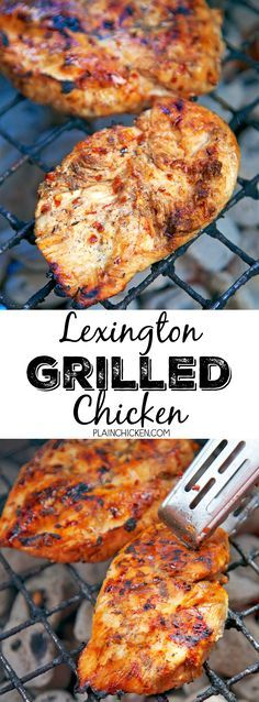 Lexington Grilled Chicken - sweet and tangy grilled chicken! Only 6 ingredients in the marinade - cider vinegar brown sugar oil red pepper flakes salt and pepper - Perfect for a cookout! Everyone raves about this chicken. There are never any leftovers! Grilled Chicken Recipes, Grilled Meat, Grilled Chicken Seasoning, Perfect Grilled Chicken, Carne Asada, Grilling Recipes, Cooking Recipes, Chicken Marinades, Bbq Chicken