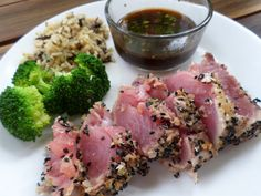 Seared Yellowfin (Ahi) Tuna with Soy Dipping Sauce... so healthy, delicious and easy!