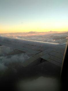 Airplane sunshine. Marvel. Travel through the clouds.