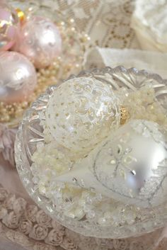 pink and crystal ornaments