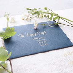 RSVP envelopes: screen printed by hand in gorgeous vintage gold.