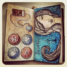 Art journaling in my new Midori Traveler's Notebook. #Midoritravelersnotebook