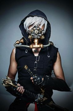 Steampunk Tendencies | Sir Evhan Temple - Steampunk Samourai Warrior by Santacruz Ivan #Cosplay #Steampunk #Gasmask