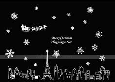 Christmas Landscape In Paris Wall Decals Wall Stickers, Wall Decals, Christmas Landscape, Merry Christmas, Paris, Holiday, Stickers, Wall Clings, Merry Little Christmas