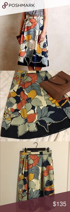 Anthropologie Colorful midi skirt with pockets Brand new Anthropologie skirt. Has pockets and are still sewn close. Approximately 29 inches long. Bought this for my engagement pictures but it didn't work out.  please no trades. Use the offer button Anthropologie Skirts Midi