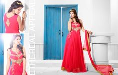 Superbly Designed Party Wear Gown in Netted Fabric with Santoon inner in Red color with beautiful Diamond Hand work done. Best for Parties and Ceremonial Occasions. Ethnic Looks, Evening Party Gowns, Gowns Of Elegance, Designer Gowns, Pink Christmas, Satin Fabric, Pink Color, Party Wear, Dress Up