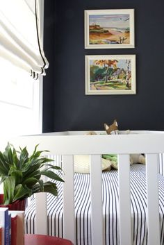 Crib and Paint By Numbers - wall color is: Benjamin Moore Hale Navy