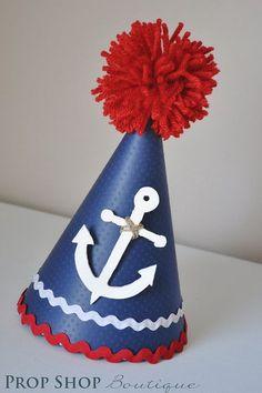 First Birthday Hat, Boy's Nautical Anchor Birthday Party Hat, Special Occasion Anchor Birthday, Sailor Birthday, Sailor Party, Sailor Theme, First Birthday Hats, Birthday Party Hats, Baby Birthday, First Birthdays, Birthday Ideas