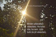 Hálát adok a mai napért. Minden pillanatban választasz. Ha tudsz róla, ha nem. Jobb tudni és jól választani. Ez a legkönnyebb út. Így szeretlek, Élet!  ⚜ Ho'oponoponoWay Magyarország ⚜ www.HooponoponoWay.hu