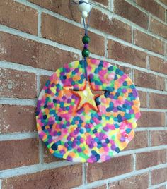 Quirky Circle Star Recycled Melted Beads Rainbow Sun Catcher/Mobile with bead accents by BombPopBoutique on Etsy