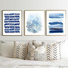 Minimalist Art Prints Set blue Wall art Navy Home Decor Stripes Painting Dots Print Boho Scandi Blue Abstract, Abstract Wall Art, Abstract Watercolor, Watercolor Paintings, Abstract Paintings, Oil Paintings, Landscape Paintings, Modern Art Prints, Modern Wall Art