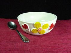STONEWARE FLOWER BOWLBreakfast Bowl Serving Bowl by CleverClay