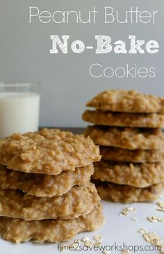 The BEST Peanut Butter No-Bake Cookies Recipe.  Everyone will love these Peanut Butter cookies, and they are so easy to make!  #peanutbuttercookies #easydessert #nobakecookies