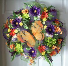 BUTTERFLY Deco Mesh Wreath. $65.00, via Etsy.