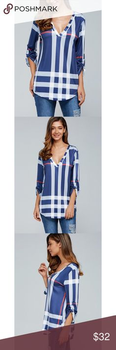 "New! Blue Plaid Blouse Brand new, boutique 3/4 sleeve plaid blue blouse. Love how this top fits, and it's super soft and comfortable.   Small - bust 34.8"" Medium - bust 36.9"" Large - bust 38.1""  ❓Questions? Please reach out and ask - I'm here to help  Tops Blouses"
