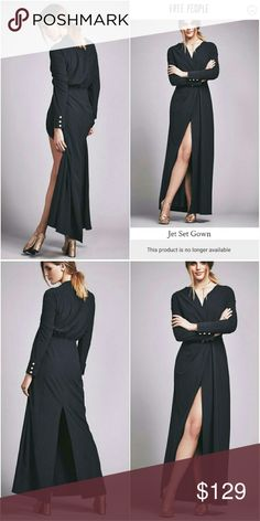 """NWT SOLD OUT FREE PEOPLE JETSET GOWN Understated elegance. Simple, sophisticated.    Beautiful and sexy long sleeve maxi dress with a plunging neckline and exaggerated front and back slits. Featured in a stretchy fabric this gown has a hidden front snap closure at the waist with pleat detailing.  86% Polyester 14% Spandex  Size 0   Bust: 36.0"""" = 91.44 cm Waist: 28.0"""" = 71.12 cm Length: 61.25"""" = 155.57 cm Sleeve Length: 20.37"""" = 51.74 cm Free People Dresses"""