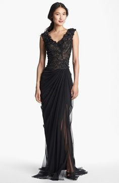 Tadashi Shoji Embellished V-Neck Tulle Gown available at #Nordstrom