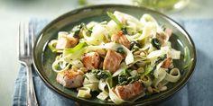 Boodschappen - Pasta met zalm en spinazie