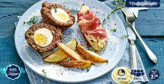 'Scottish eggs' met witlof ham-kaas en geroosterde ovenfrites #Delicieux #Eggs #Kerst #Lidl