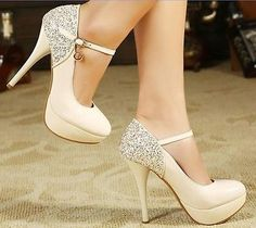 Beige/white Womens Shiny High Heel Stiletto Platform Pumps Party Wedding Shoes