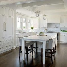 White kItchen Island with Legs as Dining Table Lined with Heather Gray Counter Stools