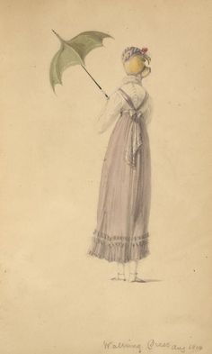 Walking dress, August 1814- LOVE the shape of the umbrella