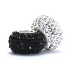 Set of 2 - Bella Fascini Black & White Clear Crystal Pave Sparkle Bling - Special Mix - Solid .925 Sterling Silver Core European Charm Bead Made with Authentic Swarovski Crystals - Compatible Brand Bracelets : Authentic Pandora, Chamilia, Moress, Troll, Ohm, Zable, Biagi, Kay's Charmed Memories, Kohl's, Persona & more! Bella Fascini Beads,http://www.amazon.com/dp/B00F4J0VNS/ref=cm_sw_r_pi_dp_.eRQsb044DS4MQZY