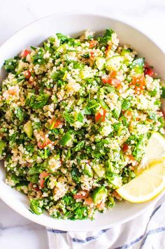 Quinoa Tabbouleh Salad is refreshing Middle Eastern salad with protein packed and gluten free quinoa, crunchy and juicy vegetables, fresh herbs and zesty lemon juice. It is a healthy party of flavours on your plate! Tabbouleh Recipe, Quinoa Tabbouleh, Sweet Potato Hummus, Salad With Sweet Potato, Greek Chicken Kebabs, Healthy Family Meals, Family Recipes, Middle Eastern Salads, Protein Salad