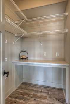 Walk-in pantry with counter and shelves.